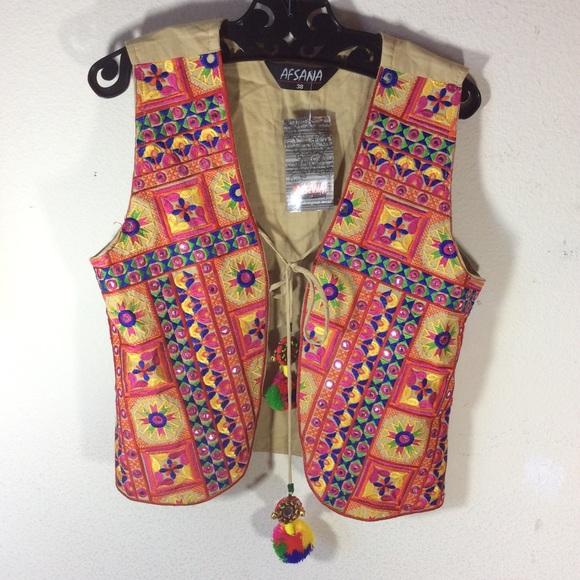 Vintage Jackets & Blazers - 🎃 Afsana NWT Gypsy Indian 🌈 mirror vest